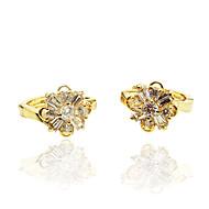 Ørering Imiteret Diamant Zirkonium Rødguldbelagt Unikt design Mode Personaliseret Hypoallergenisk Euro-Amerikansk Blomstformet Rose Guld