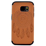 For Samsung Galaxy S8 Plus S7 Embossed Dream Catcher Pattern PU leather and Black TPU Combo Soft Phone Case S8