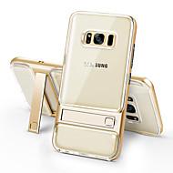 עבור Samsung Galaxy S8 פלוס s8 מקרה כיסוי shockproof עם לעמוד שקוף כיסוי אחורי מוצק צבע tpu s7