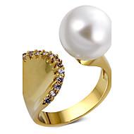 指輪 人造真珠 キュービックジルコニア ユニーク 人造真珠 キュービックジルコニア 銅 プラチナメッキ ゴールドメッキ 円形 ジュエリー のために 結婚式 パーティー Halloween 誕生日 婚約 日常 カジュアル クリスマスギフト ビーチ 1個