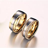 Parringe Kvadratisk Zirconium Imiteret Diamant Kærlighed Brude Zirkonium Titanium Stål Guldbelagt Kærlighed Gylden Smykker ForBryllup
