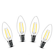 2W E14 LED Candle Lights C35 2 COB 200 lm Warm White Decorative AC 220-240 V 4 pcs