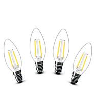 2W E14 LED gyertyaizzók C35 2 COB 200 lm Meleg fehér Dekoratív AC 220-240 V 4 db.