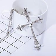男性用 ペンダントネックレス 模造ダイヤモンド クロス 十字架 シルバー ジュエリー のために 日常 カジュアル 1個