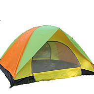 3-4 사람 텐트 더블 베이스 접이식 텐트 원 룸 캠핑 텐트 <1000mm 유리 섬유 옥스포드 방수 방풍 자외선 방지 폴더 통기성-하이킹 캠핑 야외-