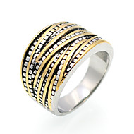 指輪 幾何学形 ダブルレイヤー ファッション ビンテージ パンクスタイル あり ヒップホップ Rock 欧米の チタン鋼 幾何学形 ゴールド ジュエリー のために パーティー Halloween 日常 カジュアル 1個