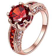 Vallomás gyűrűk Gyűrű Eljegyzési gyűrű Kocka cirkónia Divat Személyre szabott Euramerican Ezüst Arannyal bevont Rózsa arany bevonattal