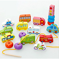 Building Blocks Educational Toy Track Sets For Gift  Building Blocks Model & Building Toy Cylindrical Train Car Bicycle Wood2 to 4 Years