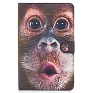 Voor Samsung Galaxy Tab e 9.6 case cover apen patroon geverfde kaart stent portemonnee pu huid materiaal vlakke beschermende shell