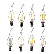 2W E14 Luzes de LED em Vela CA35 2 COB 200 lm Branco Quente Decorativa AC 220-240 V 8 Pças.