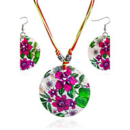Svadbeni nakit Setovi Jewelry Simple Style Round Shape Rose Red 1 Ogrlica 1 par naušnica Za Dnevno Kauzalni 1 Set Vjenčanje Pokloni