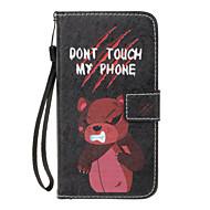 Til huawei p8 lite (2017) p10 lite case cover vred bjørn mønster pu materiale malet kort lommebok stent altomfattende telefon taske p8 p9