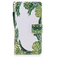 Samsung Galaxy a3 a5 (2017) suojus vihreät lehdet kuvio maalattu pu ihomateriaalia kortti stentti lompakko puhelinkotelo