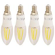 4W C37 4 COB 350 lm Lämmin valkoinen AC 85-265 V 4 kpl
