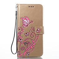 Til samsung galaxy s8 plus s8 kuffert kortholder lommebog med stativ flip præget fuld krops taske blomst sommerfugl hard pu læder til s7