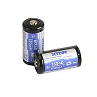 XTAR 16340た650mAh 3.6Vの2.405whリチウムイオン充電池を2PCS
