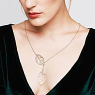 Naisten Riipus-kaulakorut Leaf Shape Sterling-hopea Säädettävä Muoti pukukorut Korut Käyttötarkoitus Häät Party Päivittäin Kausaliteetti