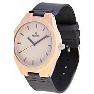 男性用 腕時計 ウッド 日本産 クォーツ 木製 本革 バンド エレガント腕時計 ブラック