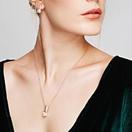 Női Ékszer készlet Beszúrós fülbevalók Nyaklánc medálok Gyöngy utánzat Diamond Alap Divat Európai elegáns jelmez ékszerek Gyöngy