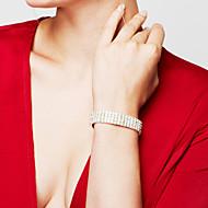 Γυναικεία Βραχιόλι Βραχιόλια Τένις Στρας Μοντέρνα Νυφικό κοσμήματα πολυτελείας Κομψή Στρας Επάργυρο Προσομειωμένο διαμάντι Square Shape