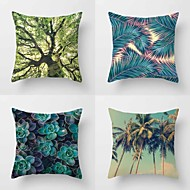Set Of 4 Succulent Tropical Plant Printing Pillow Cover Creative Sofa Cushion Cover Cotton/Linen Pillow Case