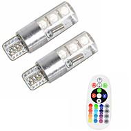 2 stuks t10 w5w 5050 smd rgb auto lezen wiel lampje 6 led 16 kleuren led flash / strobe lamp met afstandsbediening dc12v