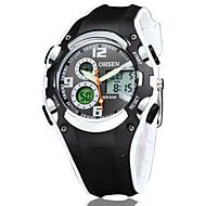 OHSEN 남성용 스포츠 시계 패션 시계 캐쥬얼 시계 시계 나무 손목 시계 독특한 창조적 인 시계 석영 디지털 LED 실리콘 밴드 우아한 멋진 캐쥬얼 창의적 럭셔리 블랙