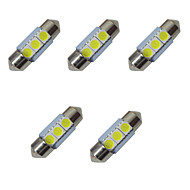 5pcs luzes led de ponta dupla 31mm 1w 3smd 5050 chip 80-100lm 6500-7000k dc12v luz de leitura luzes da placa de matrícula