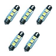 5pcs carro festo cúpula lâmpada 36 milímetros 1w 3smd 5050 chip 80-100lm 6500-7000k dc12v leitura luz luzes placa
