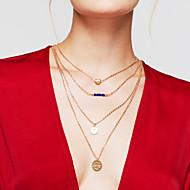 Női Rakott nyakláncok Round Shape Heart Shape Arannyal bevont Ötvözet Szív Többrétegű Divat Arany Ékszerek Mert Napi 1db