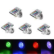 E14 GU10 E26/E27 LED Φώτα Σκηνής MR16 1 LED Υψηλης Ισχύος 250 lm RGB Με Ροοστάτη Τηλεχειριζόμενο Διακοσμητικό AC 85-265 V 5 τμχ