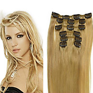 70g (7pcs) / set brazilian maagd haar steil clip in human hair extensions