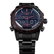ASJ Herrn Armbanduhr Quartz Japanischer Quartz LED LCD Kalender Chronograph Wasserdicht Duale Zeitzonen Alarm Edelstahl Band