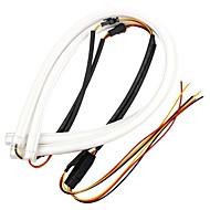 ziqiao 2pcs 60cm drl flexível tubo de tiragem tubo estilo luzes de circulação diurna lágrima tira farol do carro luz de mudança de luz