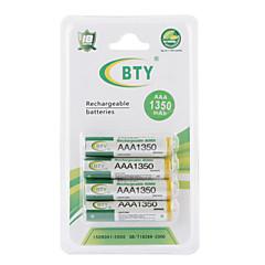 BTY 1350mAh AAA Ni-MH genopladeligt Batteri Sæt (4-pakke)