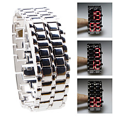 Silvery Metal Strip Digital Lava Style Iron Sport Mens Red LED Faceless Wrist Watch
