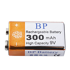 BP 9V 300mAh High Capacity Rechargeable Batteries