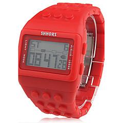 Unisex Block Bricks Design Band Digital LCD Wrist Watch (Red)