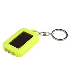 aurinkoenergialla valkoinen valo 3-LED-avaimenperä taskulamppu (keltainen)