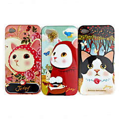 Cute Cat Pattern Protective Case for iPhone 4 / 4S (Pack of 3 pcs)