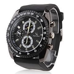 Men's Racing Style Big Dial Black Silicone Band Quartz Wrist Watch
