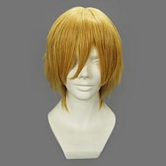 코스프레 가발 One Piece Sanji 골드 쇼트 에니메이션 코스프레 가발 32 CM 열 저항 섬유 남성