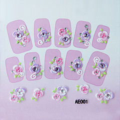 Embossed Flowers Nail Sticker(3 pcs)