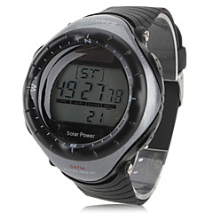 Unisex Multi-Functional Style Solar Power Rubber Digital Automatic Wrist Watch (Black) Cool Watch Unique Watch