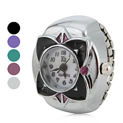 Women's Flower Style Alloy Analog Quartz Ring Watch (Assorted Colors)