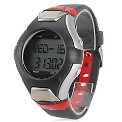 multi-funcional homens estilo borracha relógio digital de pulso automático com monitor de freqüência cardíaca (preto)