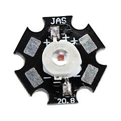 Epistar 620-630nm 3w 30-40lm 700mAh led rojo bombilla de luz con placa de aluminio (2.4-2.6V)