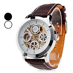SHENHUA Heren Skeleton horloge Automatisch opwindmechanisme Hol Gegraveerd Leer Band Zwart Bruin Wit Zwart