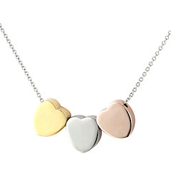 316L Stainless Steel Three Color Heart Necklace Pendant Chain For Women with Gift Box
