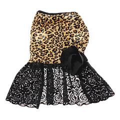 Perros Vestidos Negro Primavera/Otoño Animal Leopardo